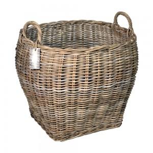 10/8017 Large Oval Top Grey Log Basket