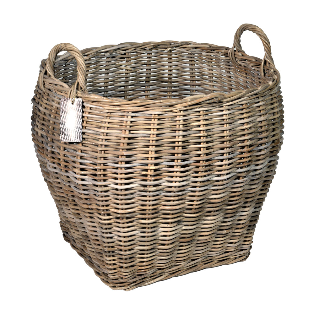 10/8017 Large Oval Top Grey Log Basket