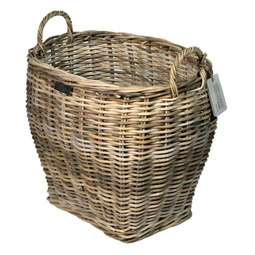 10/8018 Small Oval Top Grey Log Basket