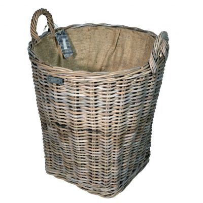 10/8019 Round Jute Lined Grey Log Basket