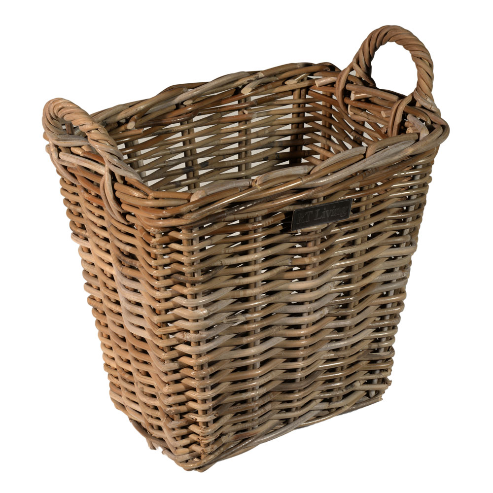 10/8024 Small Oblong Grey Kindling Basket
