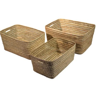 10/PL50 Set of 3 Oblong Palm Storage Baskets
