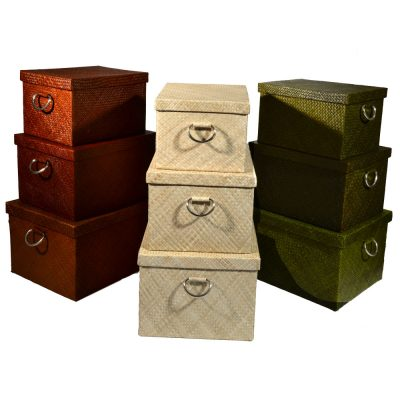 26/302 Set of 3 Oblong Palm Storage Boxes