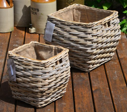 10/7007 Set of 2 Square Grey Lined Log/Storage Baskets Display