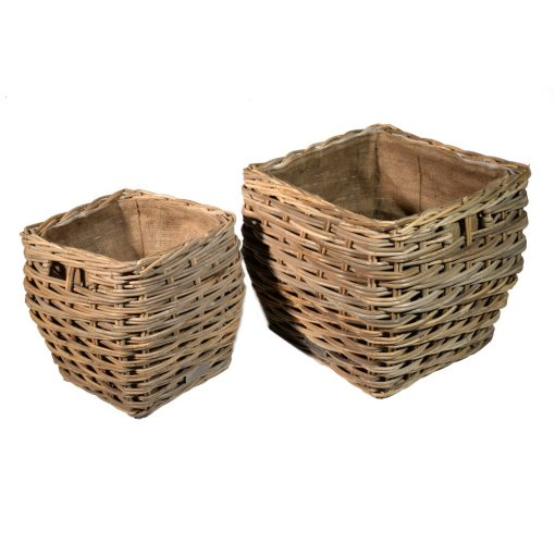 10/7007 Set of 2 Square Grey Lined Log/Storage Baskets