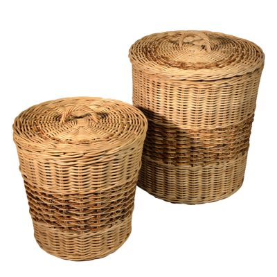13/100 Set of 2 Lined Round Rattancore Linen Baskets
