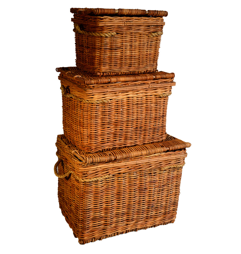 13/1107-3 Set of 3 Lacak Rattan Chests