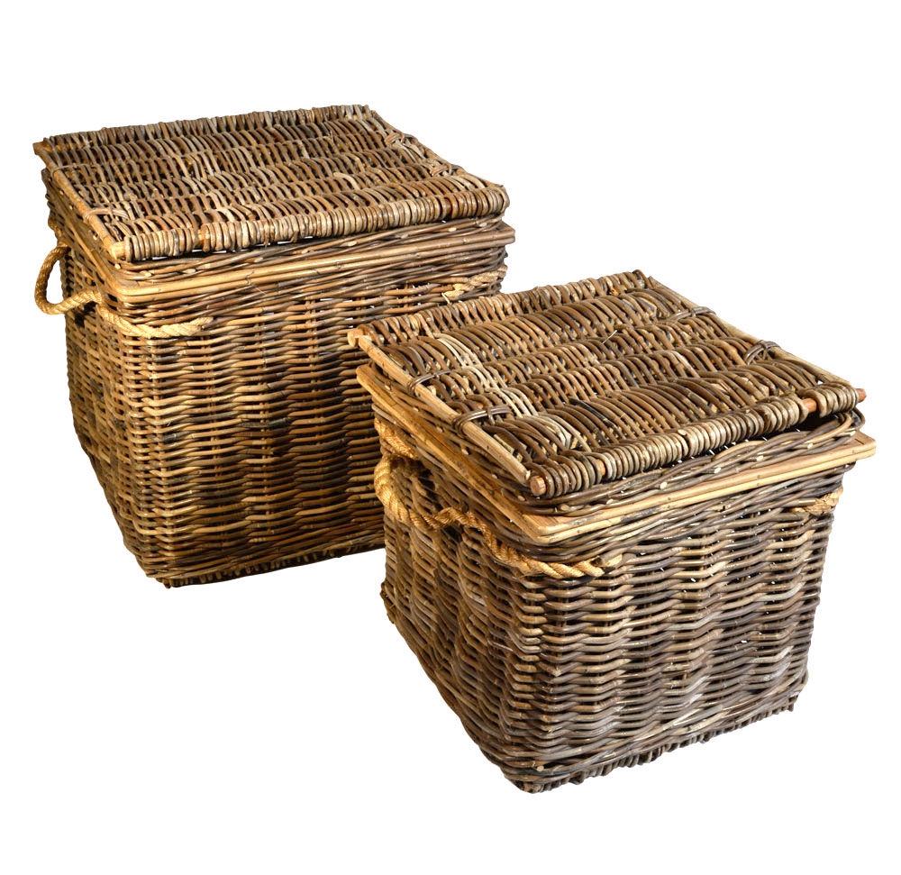 13/1109 Set of 2 Square Grey Chests