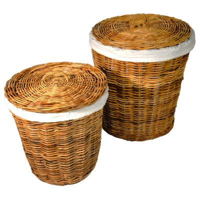 13/188 Set of 2 Shaped Lined Laundry Baskets