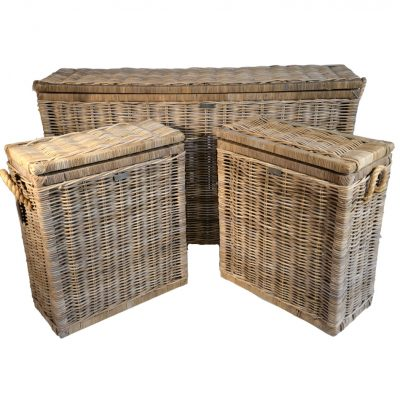 13/8023 Set of 3 Tall Grey Rope Handled Chests