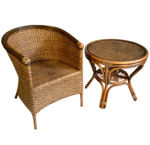 16/295 19/164 Rattan Peel Chair with Round Antique Table
