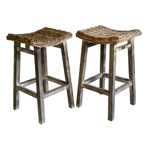 18/8026 Pair of Grey Kitchen Stools with Mango Wood