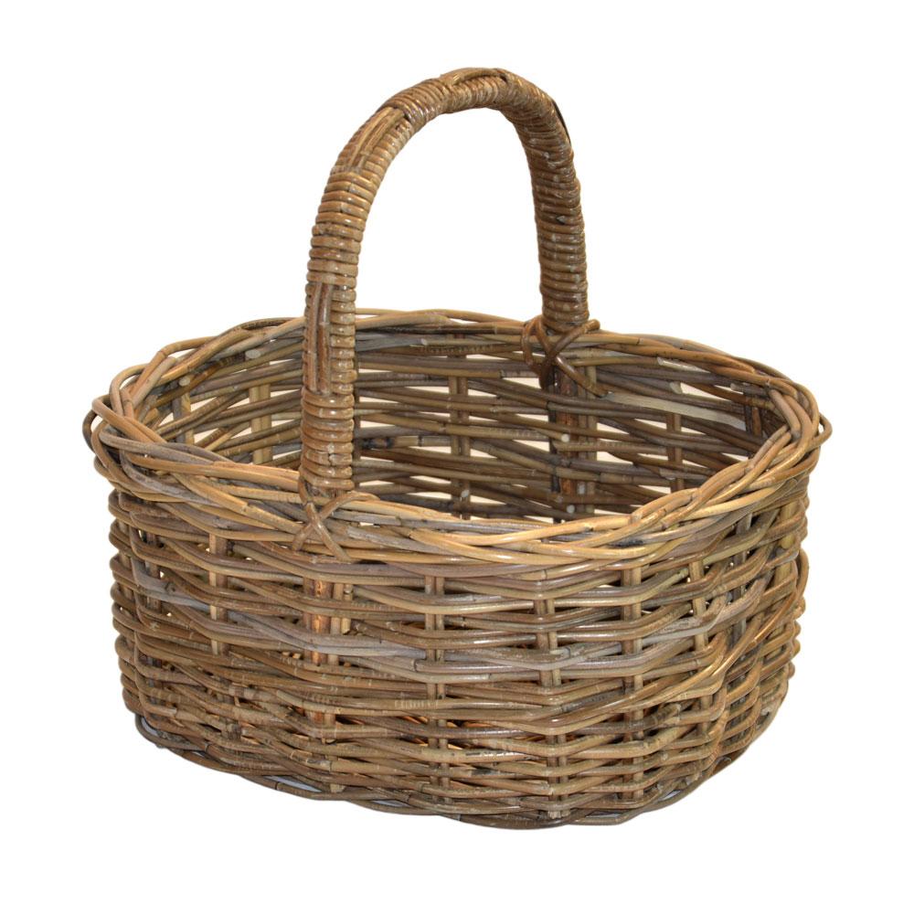 05/575G Large Grey Oval Shopping Basket