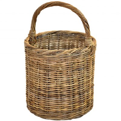 10/129G Grey Round Overhandle Log Basket