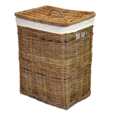 13/494G Grey Oblong Linen Basket with Calico-Liner