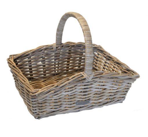 05/6014 Grey Rattan Oblong Shopping Basket