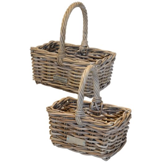 05/615401 Set of 2 Small Grey Oblong Shopping Baskets