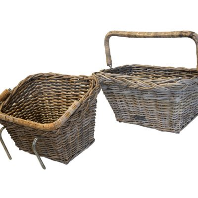 05/68892A Grey Bicycle Basket with Fold down Handle