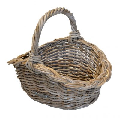 Shaped Oval Grey Shopping Basket