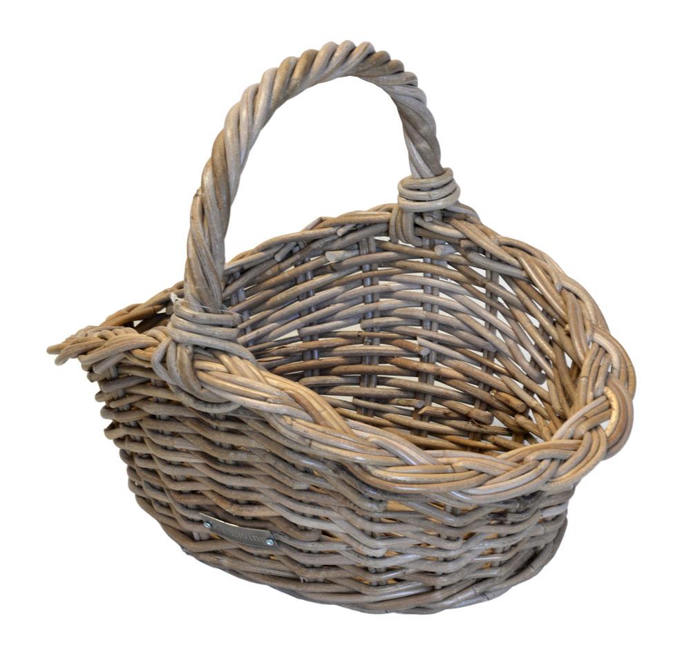 Shaped Oval Grey Shopping Basket