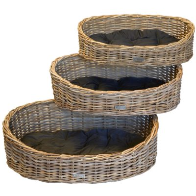09/6448 Set of 3 Grey Oval Dog Baskets with Cushions