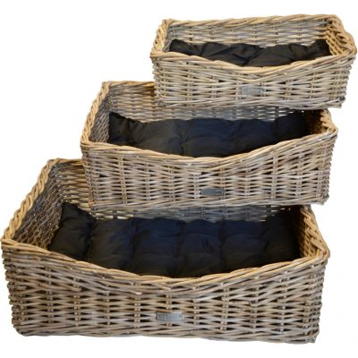 09/6609 Set of 3 Grey Rectangular Dog Baskets with cushions