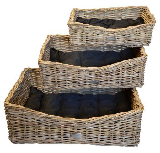 09/6609 Set of 3 Grey Rectangular Dog Baskets with cushions