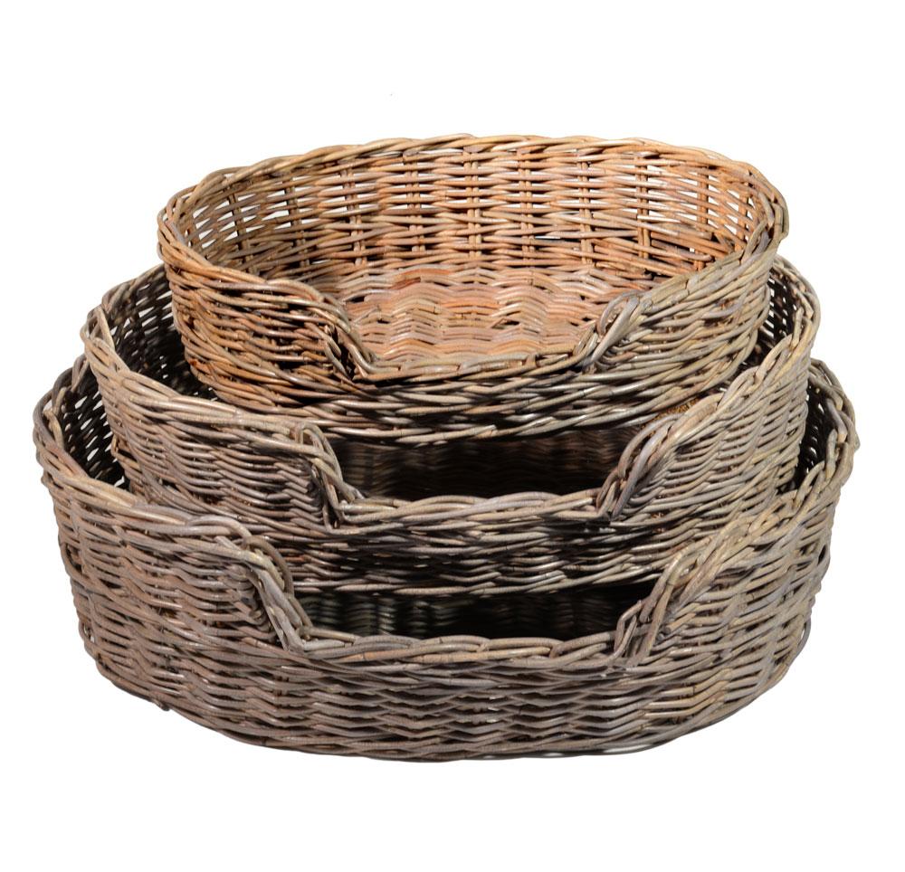 10/6781 Set of 3 Oval Greywash Dog Baskets