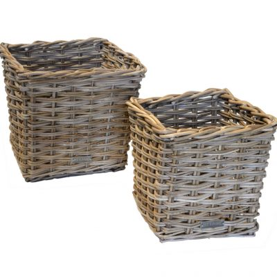 11/61214 Set of 2 Grey Square Storage Baskets