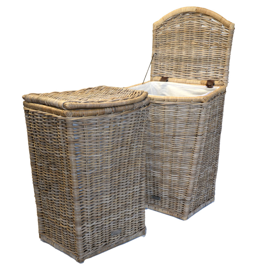 13/68892 Tall Grey Shaped Laundry Basket with Lining