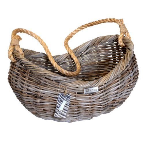 10/8029 Grey Boat Basket with Rope Handle