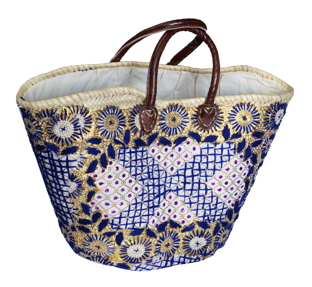 05/4630R Palm Shopper Embroidered Blue