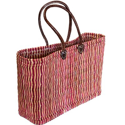 05/6111P 2-tone Oblong Pink Bulrush Shopper