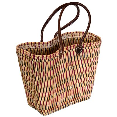 05-6115G Large Shaped Pink Bulrush Shopper