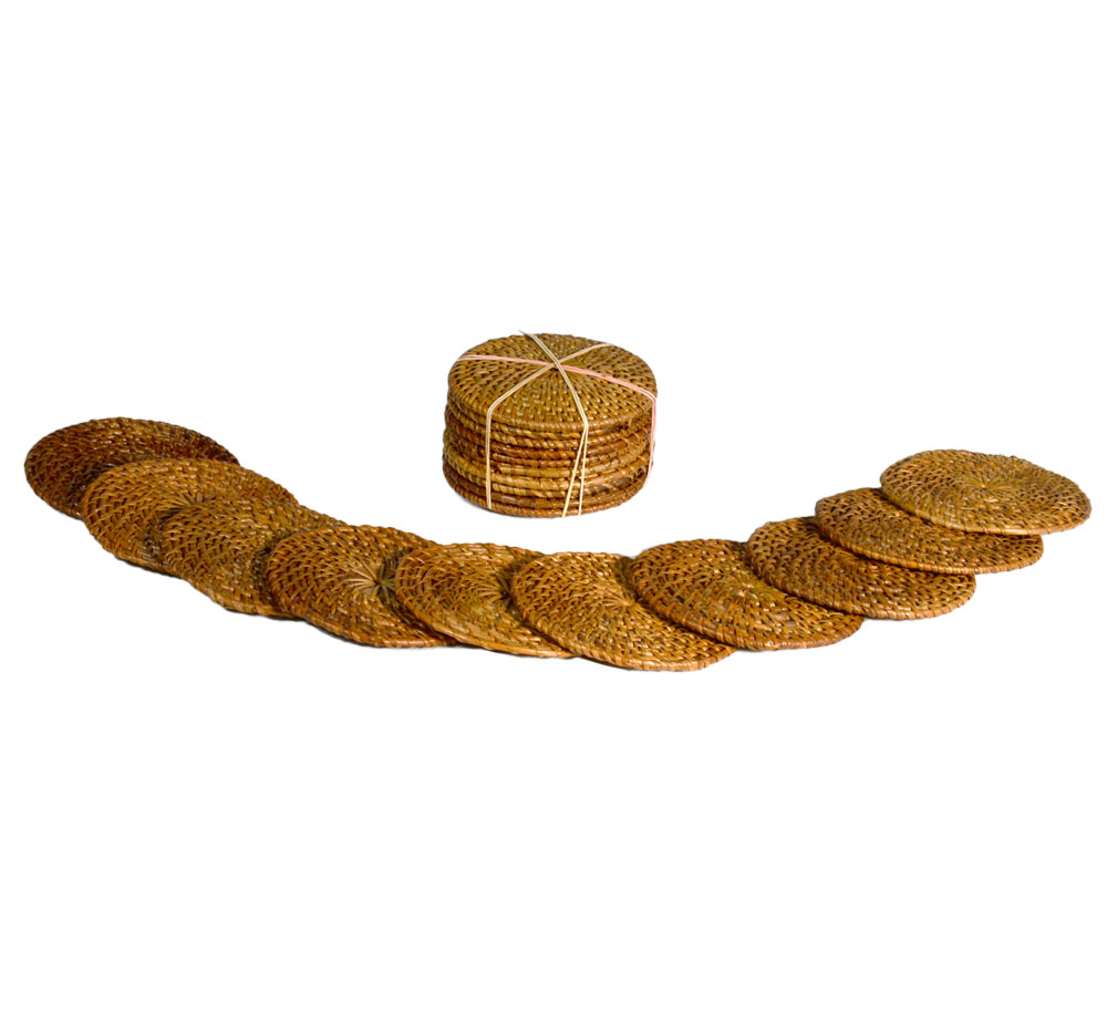 26/615 Pack of 10 Round Rattan Coasters