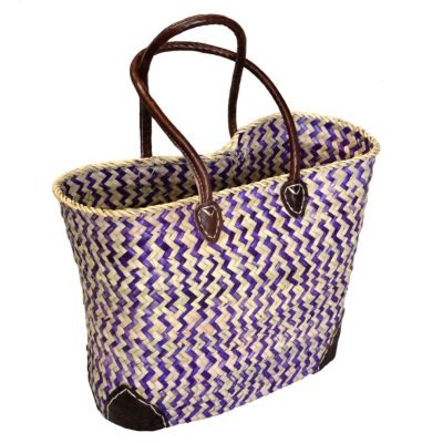05/ZZP Oblong Purple Zigzag Shopper Leather Corners