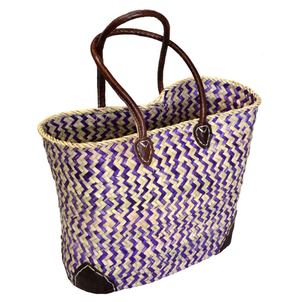 05/ZZP Oblong Purple Zigzag Shopper Leather Corners