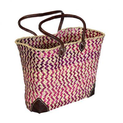 05/ZZR Oblong Red Zigzag Shopper Leather Corners