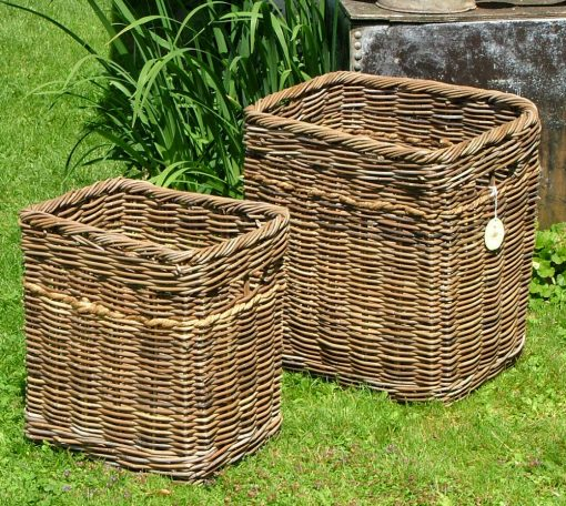 10/190 Tall Oblong Grey Log Baskets with Rope Trim Display
