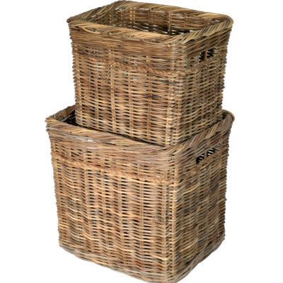 10/190G Tall Oblong Grey Log Baskets with Rope Trim