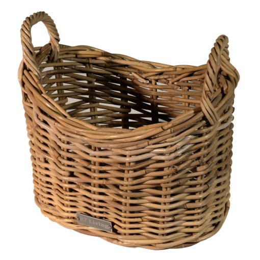 10/7014 Scoop Top Grey Kindling/Storage Basket