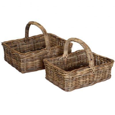 05/077G Set of 2 Grey Oblong Shopping Baskets