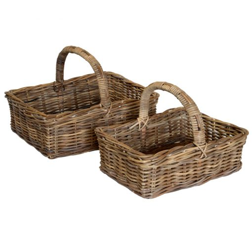 05/077G Set of 2 Grey Oblong Shopping Baskets
