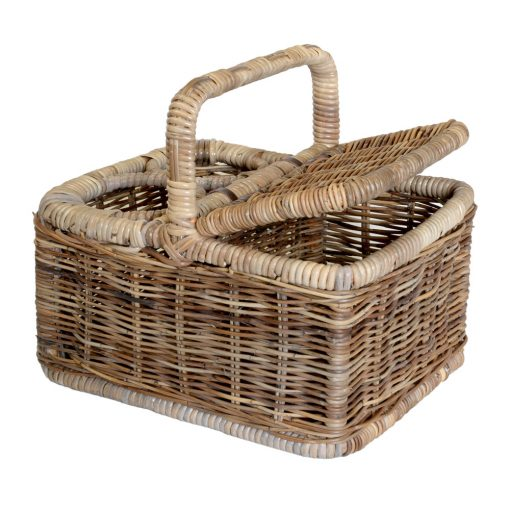 05/610G Grey Lidded Picnic Basket - Lid Open