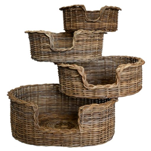 09/103G Set 4 Grey Oval Dog Baskets