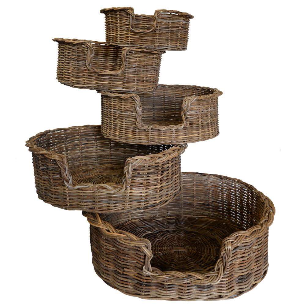 09/104G Set 5 Grey Oval Dog Baskets