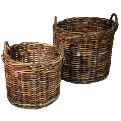 10/087G Set of 2 Grey Round Chunky Log Baskets