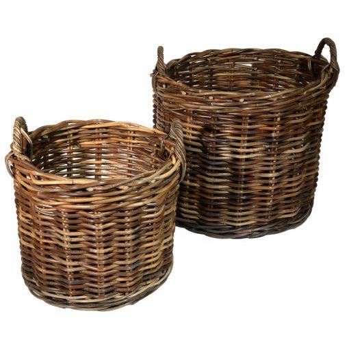 10/087G Set of 2 Grey Round Chunky Log Baskets