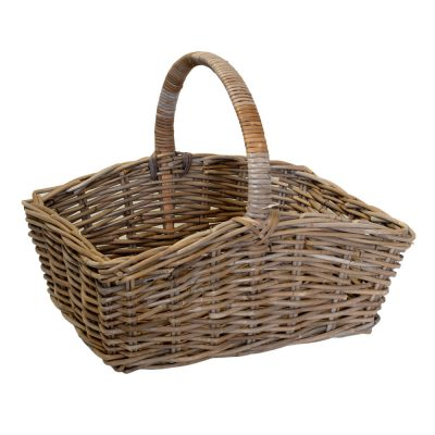 05/6014 Oblong Grey Rattan Shopping Basket