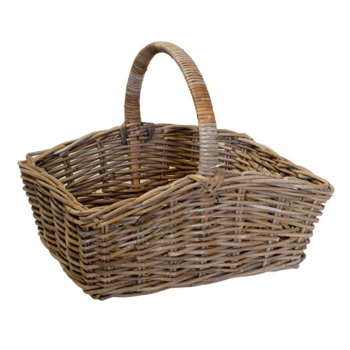 05/6014 Oblong Grey Rattan Shopping Basket
